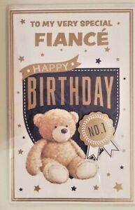 FIANCE BIRTHDAY CARD FOR HIM LUXURIOUS 8 PAGES WITH STUNNING WORDS CUTE BEAR