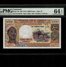 Cameroun 5000 Francs 1974 P-17b * PMG Unc 64 EPQ * Rare *