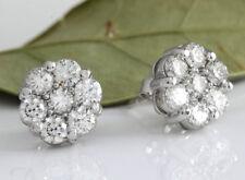 1.50Ct Round VVS1/D Diamond Cluster Flower Stud Earrings 14K White Gold Finish