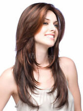 100% Human Hair!Fashion Sexy Straight Wig Women Natural Long Light Brown Hair