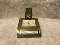 Vtg Phinney-Walker Windup Alarm Desk Brass Clock Perpetual Calendar Glows Tested