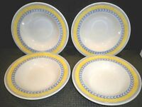 4 JOHNSON BROS. WIDE RIM SOUP BOWLS 'JARDINIERE YELLOW AND BLUE TIMS 8 5/8''