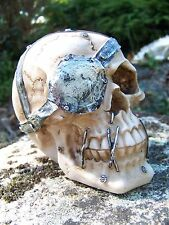 SK213   TETE MORT  FIGURINE  CRANE OEIL    METAL  HEROIC FANTASY  GOTHIQUE SKULL