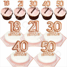 Rose Gold Happy Birthday Cake Cupcake Toppers Picks Decoration 18/21/30/40/50