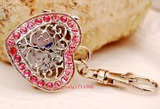 New 5pcs Heart Mesh Crystal girl lady Rhinestone Key Ring watches gifts LK19