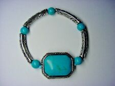 Band - Designed For Men Or Women Bracelet - Turquoise - Silver Tone - Stretch