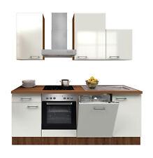 Küchenzeile mit Elektrogeräten Küchenblock E-Geräte Einbauküche 220 cm weiss