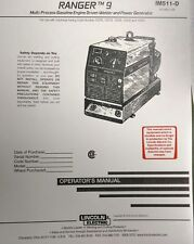 Lincoln Ranger 9 Welder & Kohler CH20 Engine Operator & Service (3 Manuals)294pg