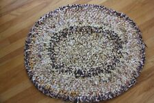Small Hand Crocheted Oval Rugs 29 x 25 Brown and Gold