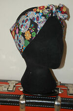 halloween skulls head scarf costum hair accessory trick or treat bow hair wrap