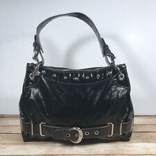 Kathy Van Zeeland Black Patent Vinyl Satchel Shoulder Bag Large