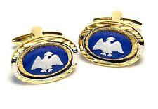 Wedgwood Jewelry: Stamped, Gold-Plated Wedgwood Jasperware Cufflinks