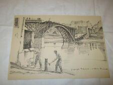 um 1939 Organisation Todt - gesprengte Brücke in der Steiermark / Bau-Soldaten