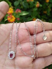 """Natural Red RUBY & White CZ Pendant Sterling Silver 925 Necklace 19"""" Chain"""