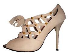 Topshop Gaga chelise desnuda Gamuza Kitsch recorte metal oro Stud Spike Zapatos 6 39