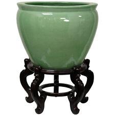 "Oriental Furniture 20"" Celadon Porcelain Fishbowl"