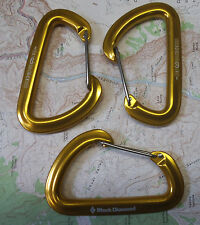 Black Diamond Hotwire Carabiner 3pak Climbing Rock Alpine Ice Sport Biner Gold