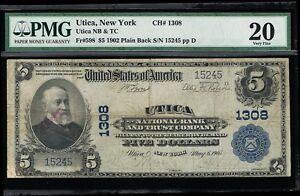 AFFORDABLE GENUINE FR #598 CH# 1308 UTICA NY PMG GRADED VF 20 NATIONAL BANK NOTE