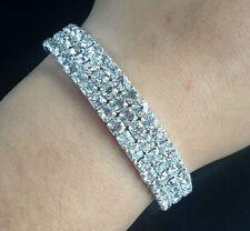 Wedding Bridal Clear Crystal Rhinestone 3Rows Elastic Bangle Bracelet Wristband