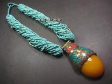 N4944 FASHION BOLD Amber Coral resin Glass bone Brass Pendant NECKLACE TIBETAN