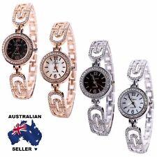 New Women's Rhinestone Crystal Bracelet Stainless Steel Quartz Wrist Watch