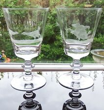 Pair of Engraved Fighting Cock Large Glass Goblets