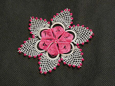 Handmade limited edition white & rose pink floral lace Applique / lace motif