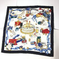 Chopard Silk Scarf Happy Diamonds Happy Birthday Navy Blue Gold Italy