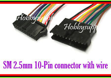 JST-SM 2.5mm 10-Pin Male Female Housing Connector Adapter wire 26AWG L:300mm x 2