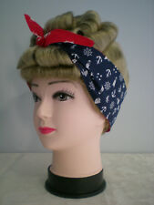 Rockabilly Head Scarf/Tie up/Pin-up/Up Do Wrap Reversible 50s. Nautical Navy/Red