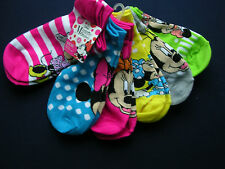"""Girl's  """"MINNIE MOUSE"""" 6 Pairs NO-SHOWS SOCKS FITS SHOE SIZE M/L - 3-10  NWT"""