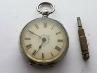Antique  Ladies  1890 Pocket Watch Solid Silver Good Condition And Working
