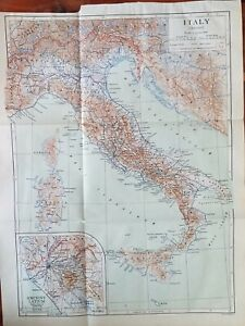 Vintage Map Of Italy (Ancient) 1910