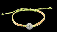 Bracelet bresilien Oeil de Sainte Lucie  resine cuir- Shiva - orange jaune 1007