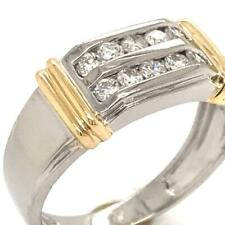 0.45 TCW Two-Tone Round Cut Diamonds In Solid 14K Men's Pinky Ring Sz 9.5