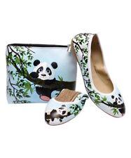 Foldy panda foldable ballet flat shoes & bag ~ NEW ~ UK 7 (UK 6) ~ EU 40 ~ blue