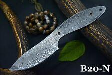 "7.9"" OAL Custom Damascus Steel Blank Blade Hunting Knife Handmade (B20-N)"