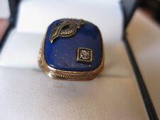 Gold Ring:Lapis Lazuli & Diamond,Art Deco Ostby & Barton Antique 10K Yellow