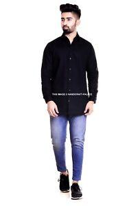 Homme Uni Chemise Coton Riche Facile Soin Col Classique Habillé Long Décontracté