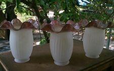 3 TULIPES LONGUES LUMINAIRE LAMPE LUSTRE diam 14 cm haut : 15 cm bord violet
