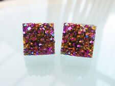 Small Sparkly Square Gold Ab Crystal Diamante Rhinestone Stud Earrings