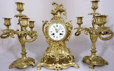 Antique French gilt brass ormolu striking mantel clock garniture  Working Order