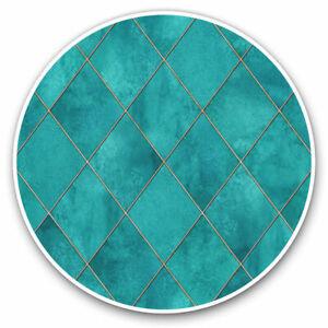 2 x Vinyl Stickers 20cm - Teal Blue Geometric Tiles Cool Gift #2527