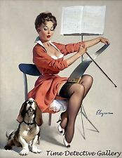 Vintage Pin-up Girl Playing Music on a Saw - Giclee Photo Print