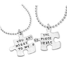 *UK* 925 SILVER PLT 'YOU ARE THE MISSING PIECE TO MY PUZZLE' 2x NECKLACE FRIENDS