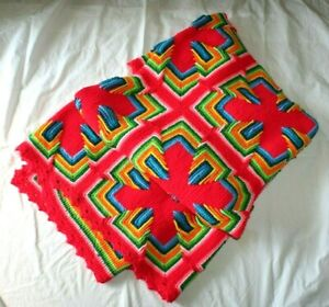 "Vintage Crochet Afghan 63"" X 85"" Bright Rainbow Squares 3D Cross T34"
