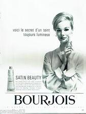 PUBLICITE ADVERTISING 096  1963   Bourjois  maquillage  fond teint Satin beauty