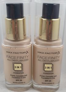 2 x Max Factor Facefinity 30ml Warm Almond 45 30ml