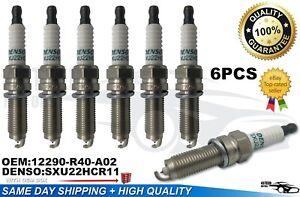 6 PCS New Spark Plugs Denso Iridium 12290-R40-A02 SXU22HCR11S 3461 CR-V🔥