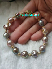 """7.5-8"""" baroque AAA+ 9-11mm real natural south sea multicolor Pearl Bracelet 14k"""